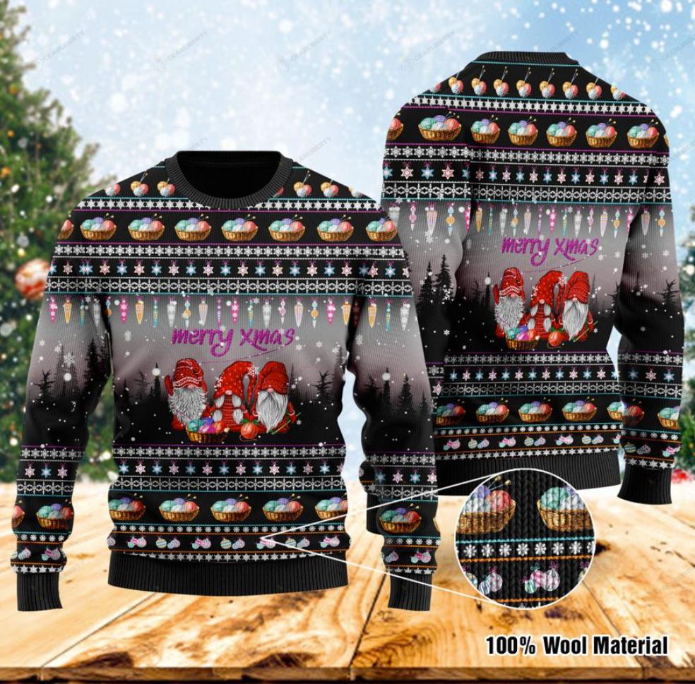 Merry xmas gnomes crochet ugly sweater