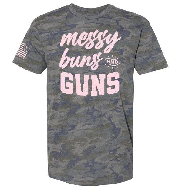 Messy buns and guns camo 3d shirt