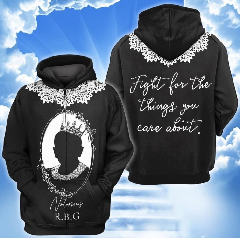 Notorious RBG all over printed 3D hoodie - dnstyles
