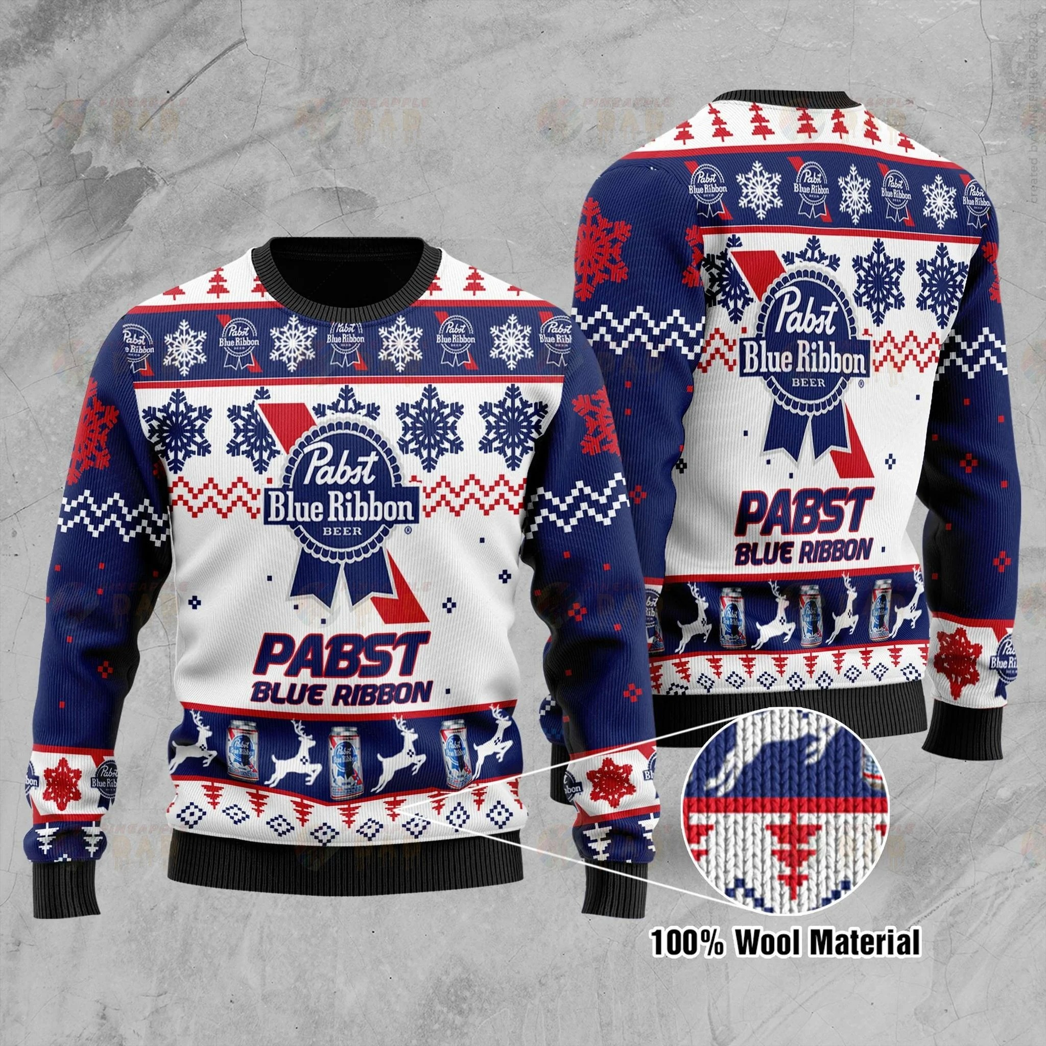 Pabst Blue Ribbon Ugly Christmas Sweater