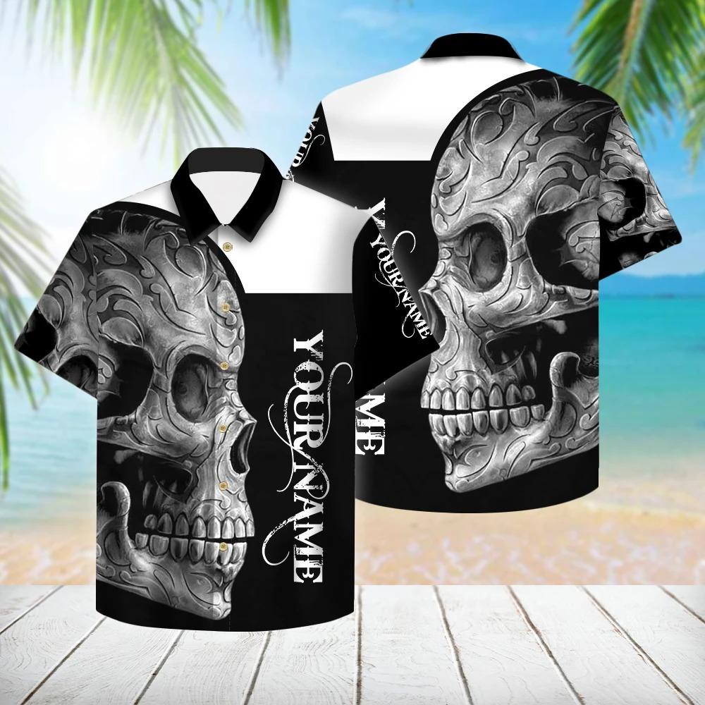 Personalized Black And White Skull Hawaiian Shirt