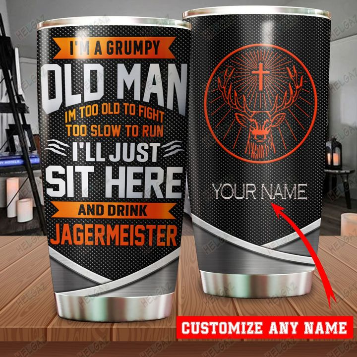 Personalized customize name i'm a grumpy old man jagermeister tumbler
