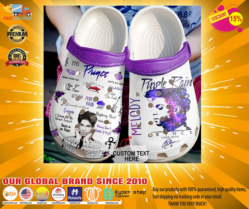Prince Purple rain custom text crocs shoes - LIMITED EDITION