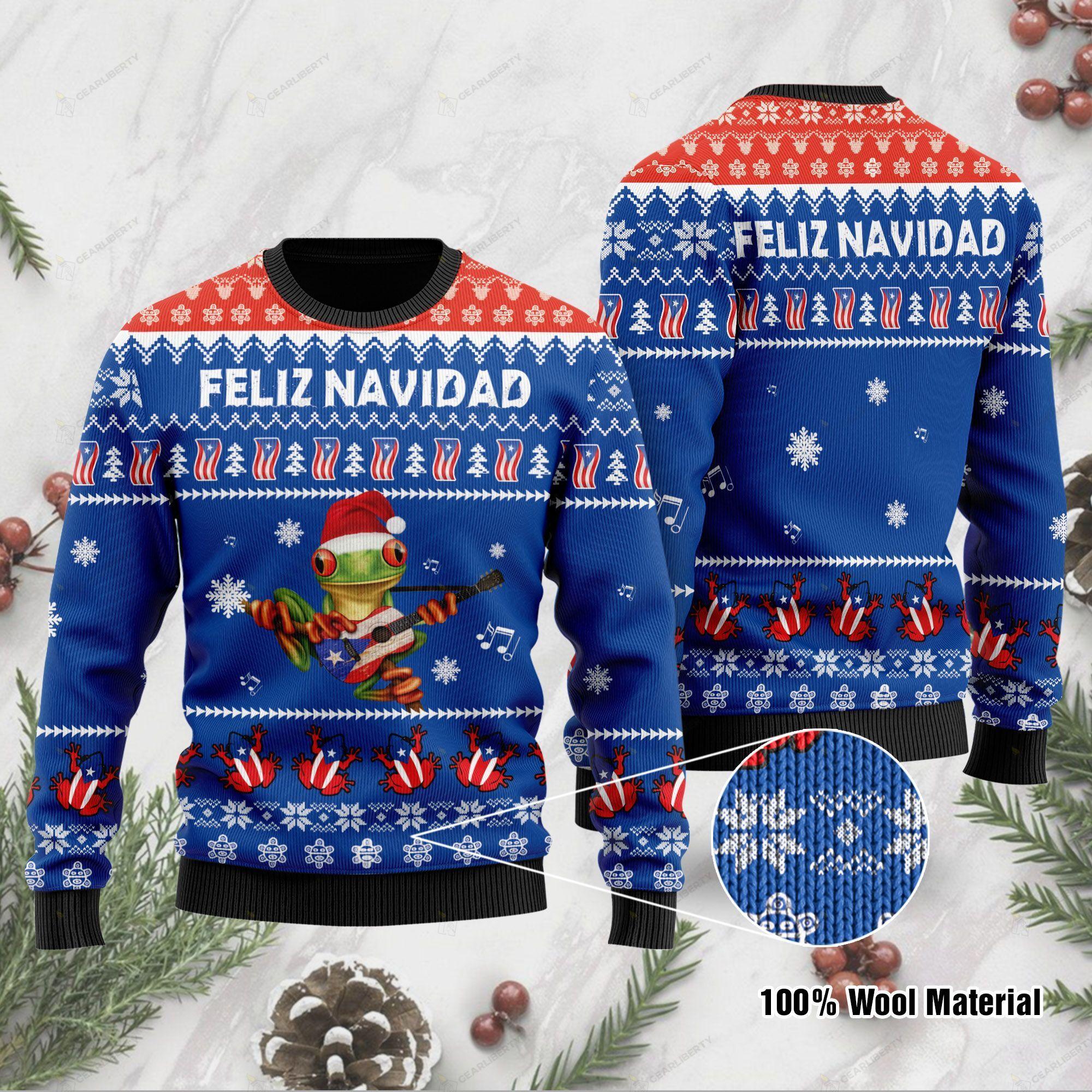 Puerto rico feliz navidad ugly sweater