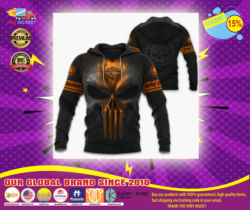Punisher Skull Motorcycle Harley Davidson 3D hoodie - LIMITED EDITION