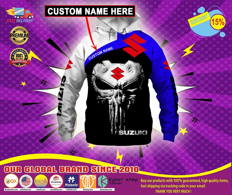 Punisher skull Suzuki 3d hoodie custom name - LIMITED EDITION