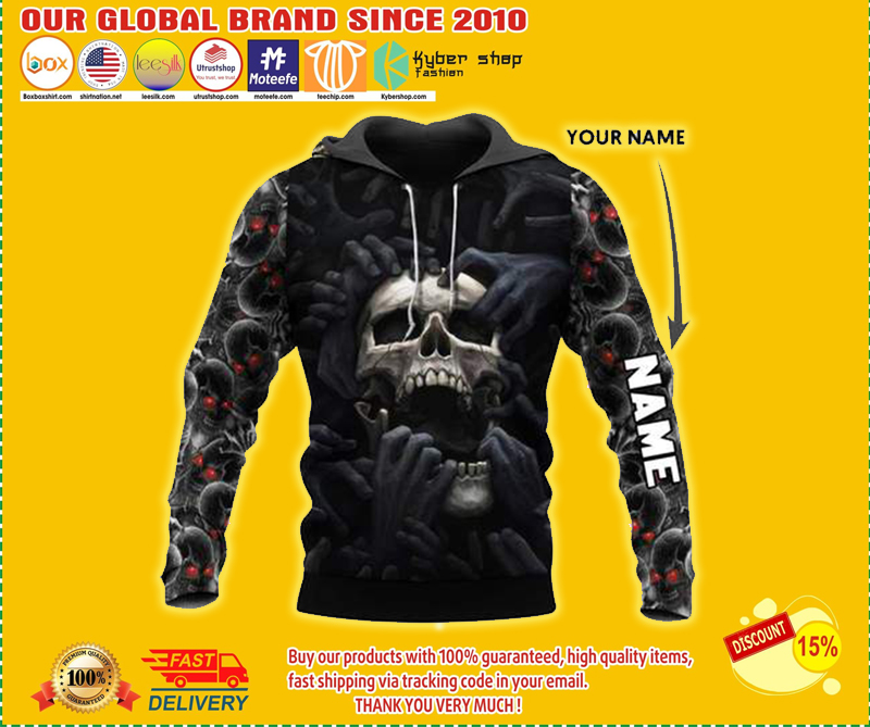 Red eyes screaming skull custom personalized name 3d hoodie - LIMITED EDITION BBS