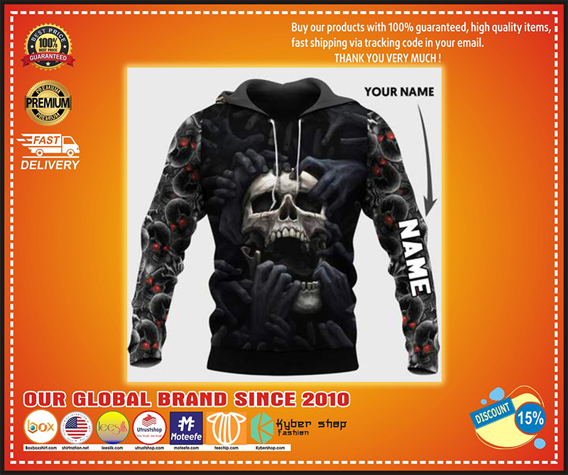 Red eyes screaming skull personalized custom name 3d hoodie - LIMITED EDITION BBS