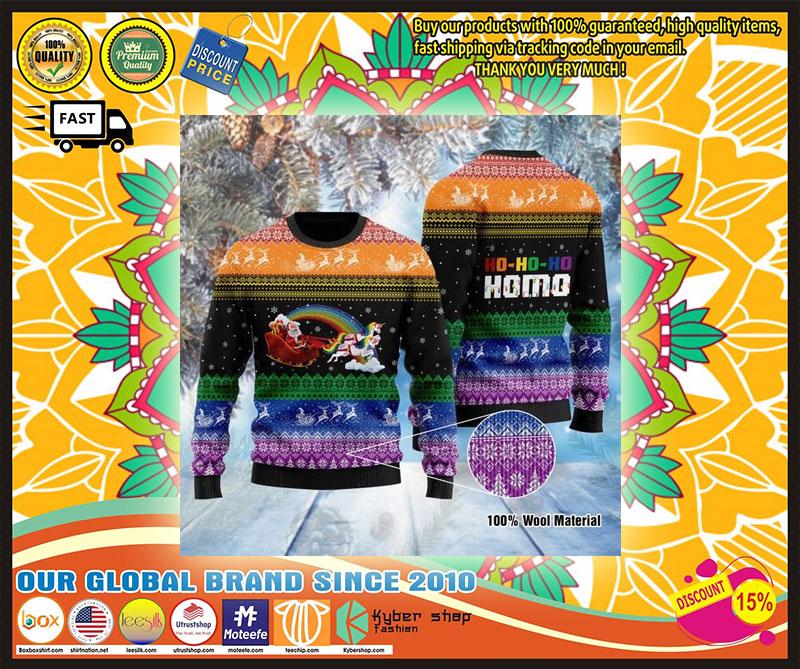Santa Clause Unicorn Ho-Ho-Ho Homo ugly Christmas Sweater - LIMITED EDTION
