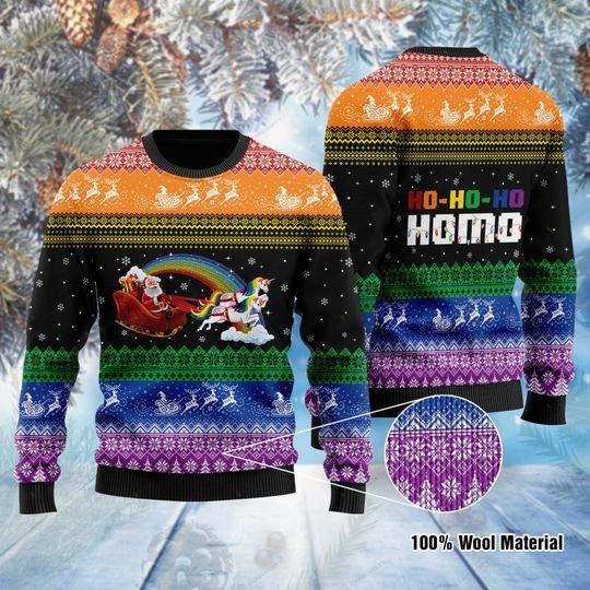 Santa Clause Unicorn Ho-Ho-Ho Homo ugly Christmas Sweater