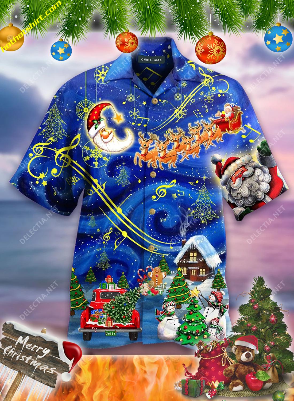 Santa and elk christmas sky hawaiian shirt 1