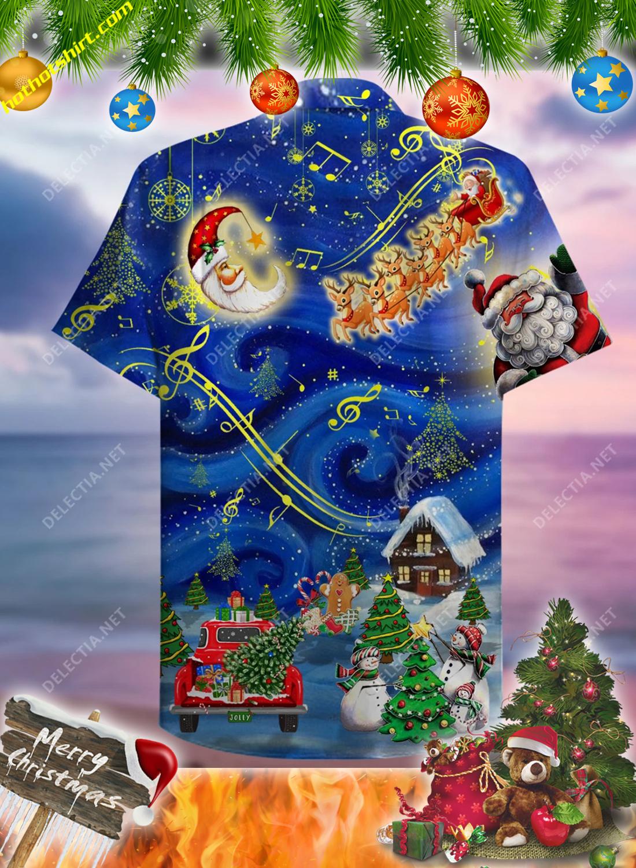 Santa and elk christmas sky hawaiian shirt 2