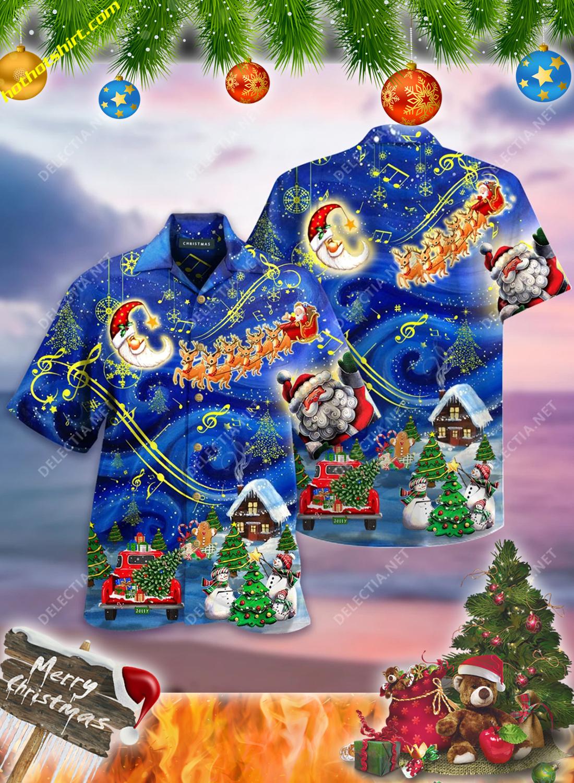 Santa and elk christmas sky hawaiian shirt