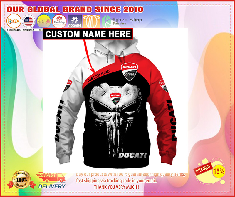 Skull Ducati corse 3d hoodie custom personalized name – LIMITED EDITION
