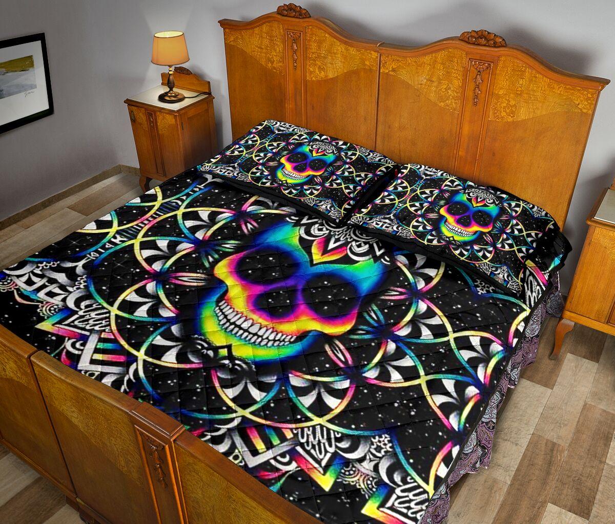 Skull colorful bed set