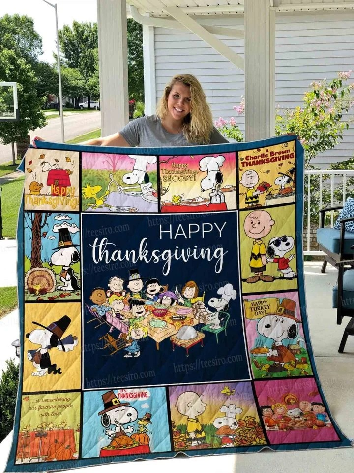 Snoopy peanuts happy thanksgiving quilt blanket
