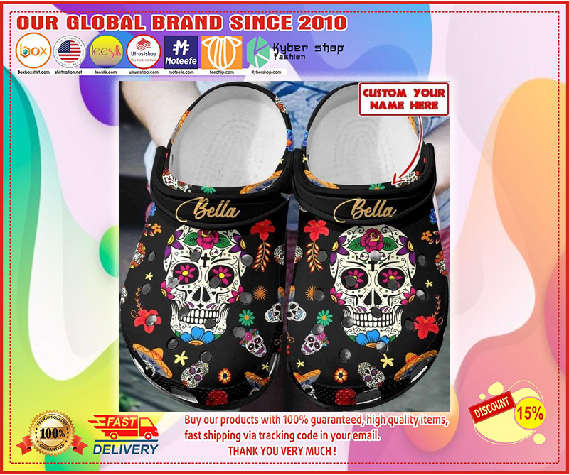 Sugar skull custom name croc shoes crocband clog - LIMITED EDITION