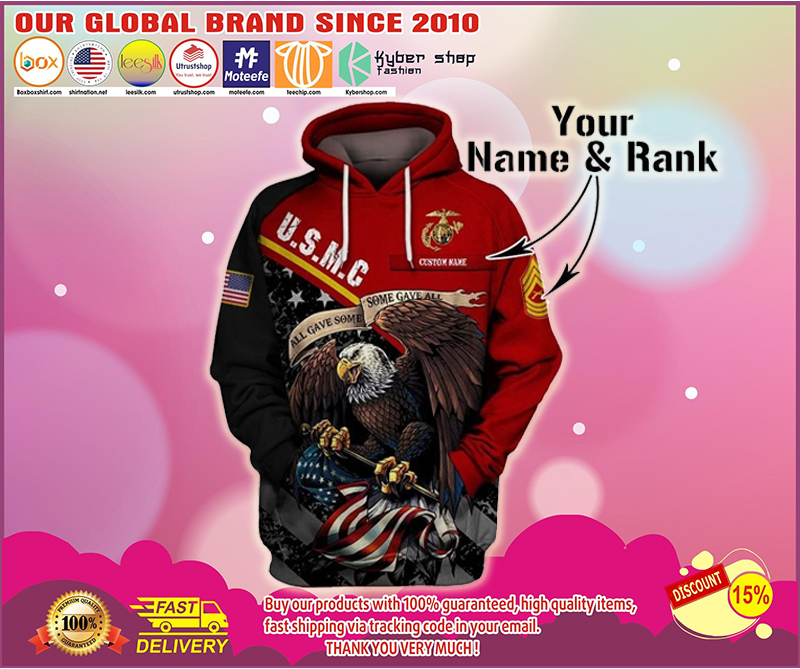 US marine corps personalized custom name rank 3d hoodie - LIMITED EDITION BBS