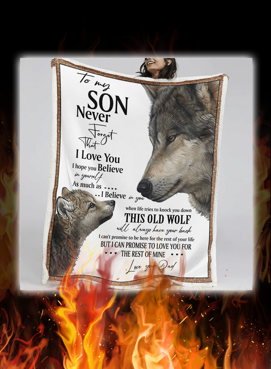 Wolf to my son your dad quilt blanket 1