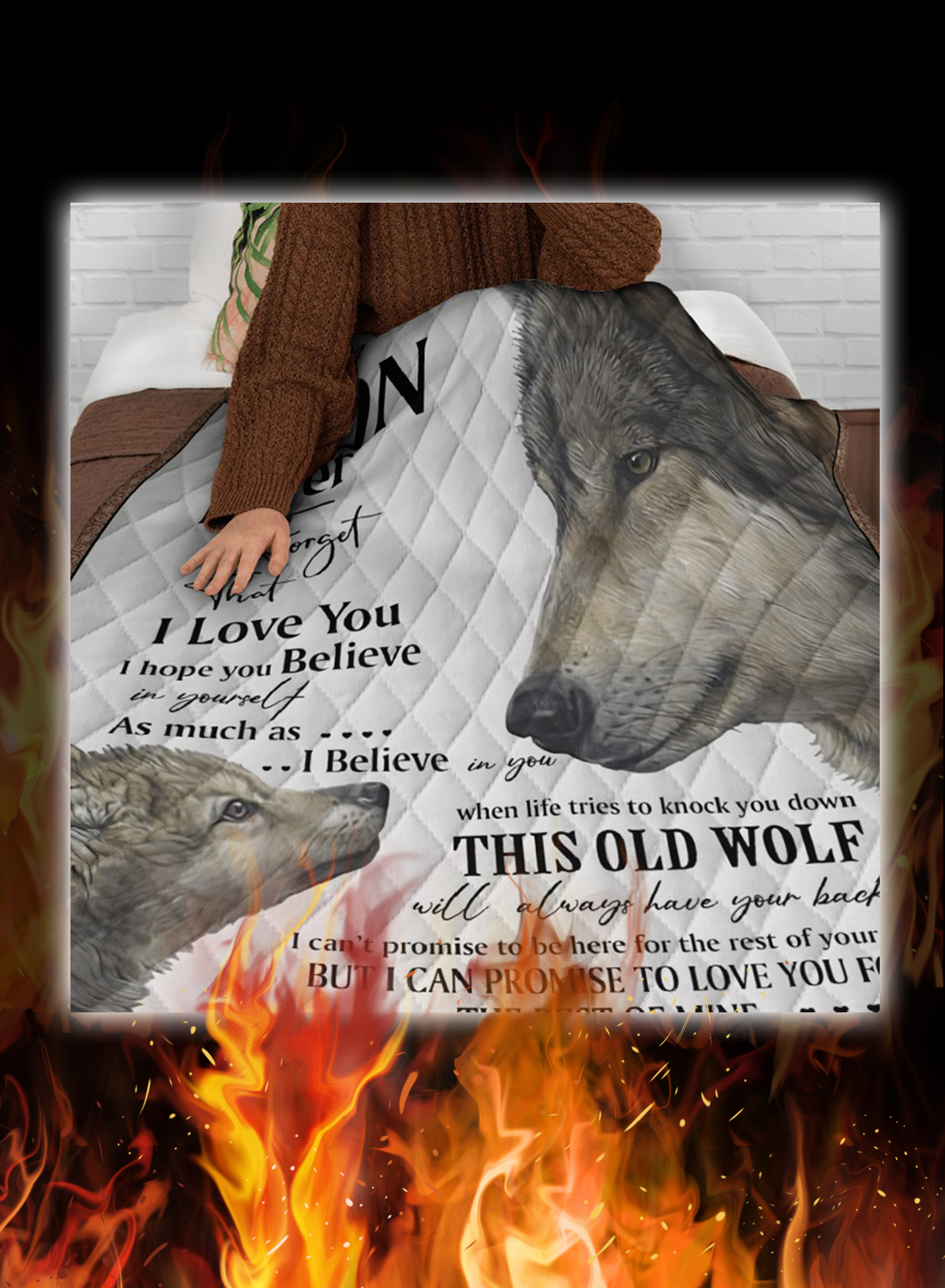 Wolf to my son your dad quilt blanket 2