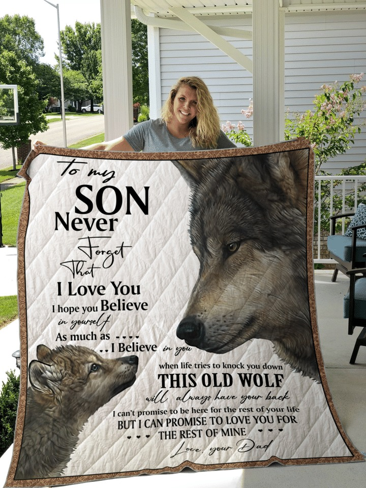 Wolf to my son your dad quilt blanket