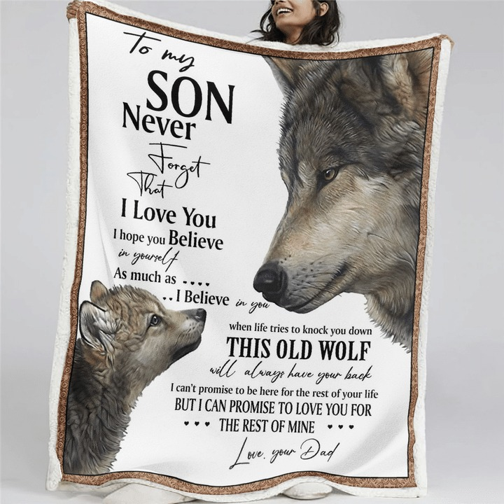 Wolf to my son your dad quilt