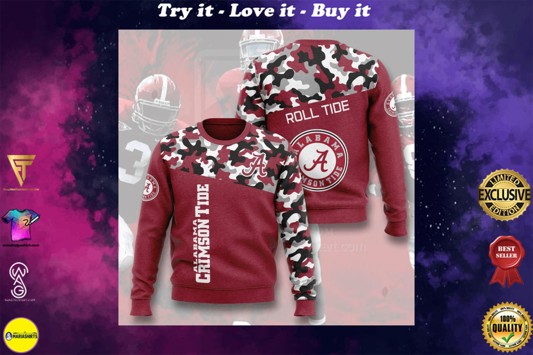 [special edition] alabama crimson tide football camo full printing ugly sweater - maria