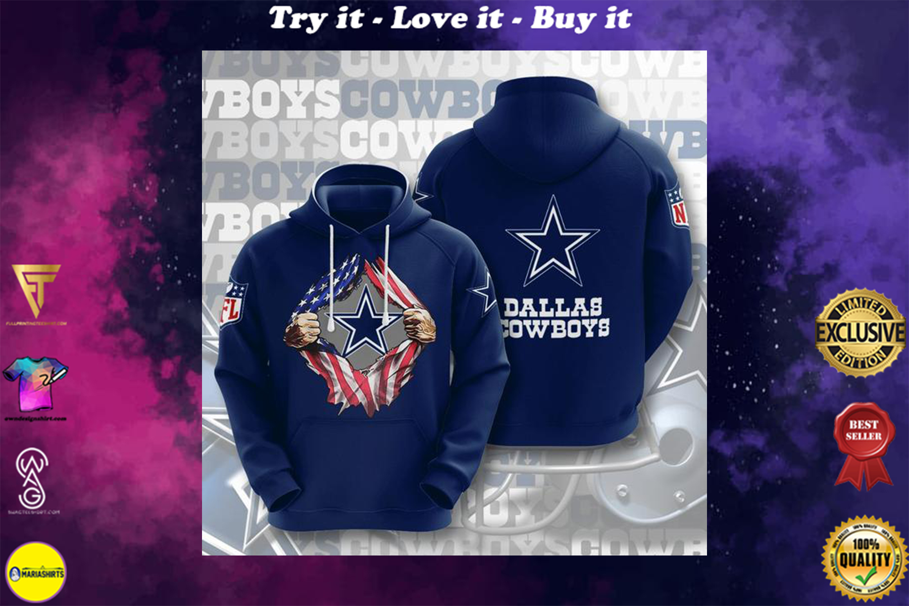 [special edition] american flag dallas cowboys full printing shirt - maria