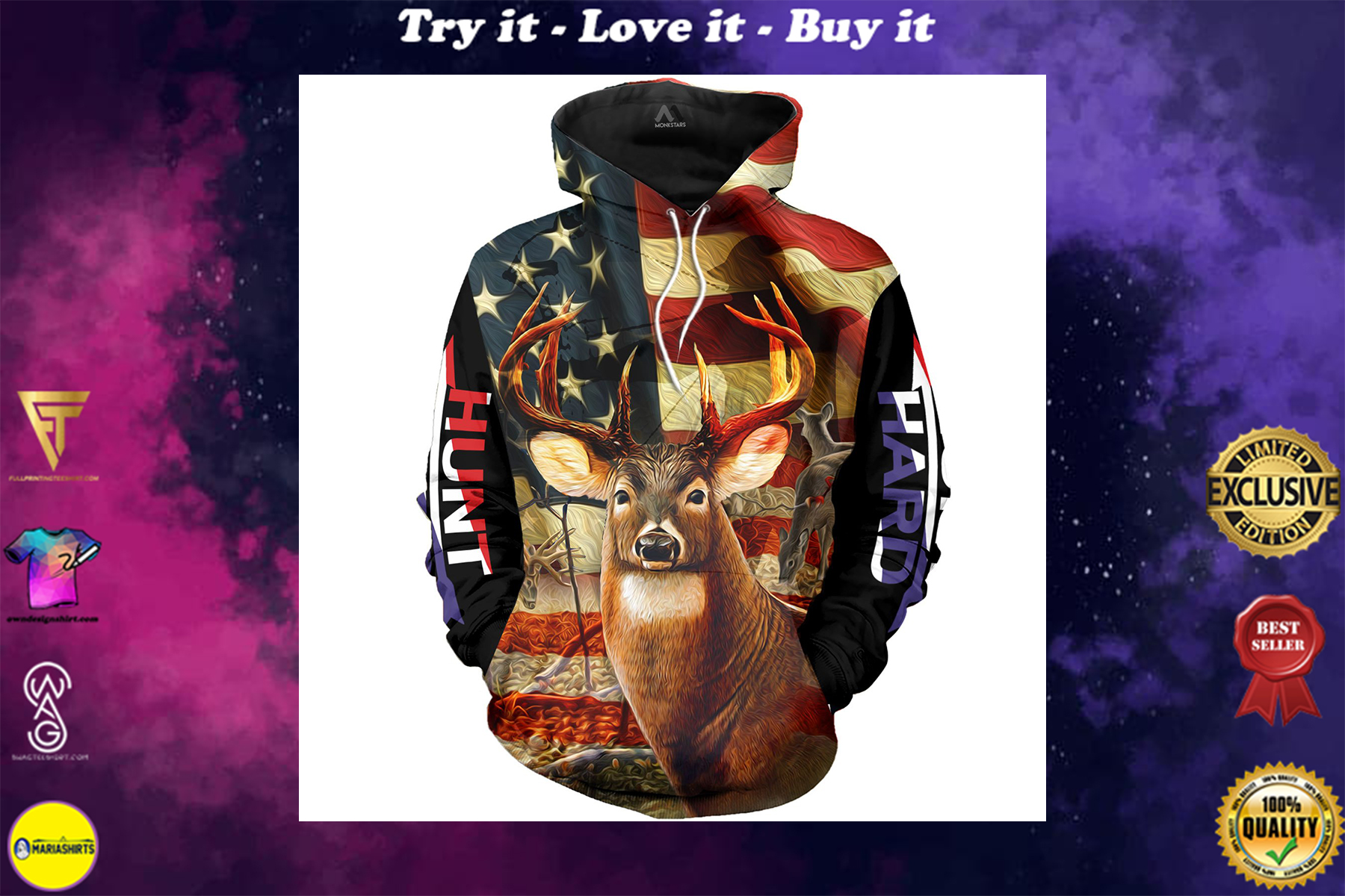 [special edition] american flag deer hunting love hunter full over printed shirt - maria