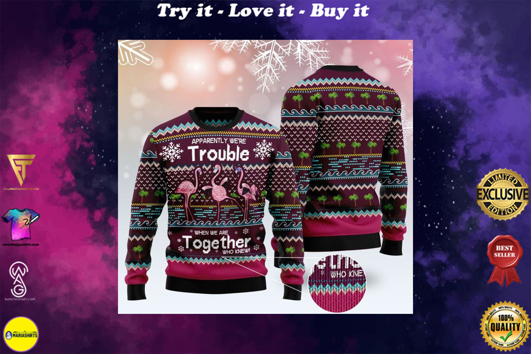 [special edition] apparently were trouble when we are together who knew ugly sweater - maria