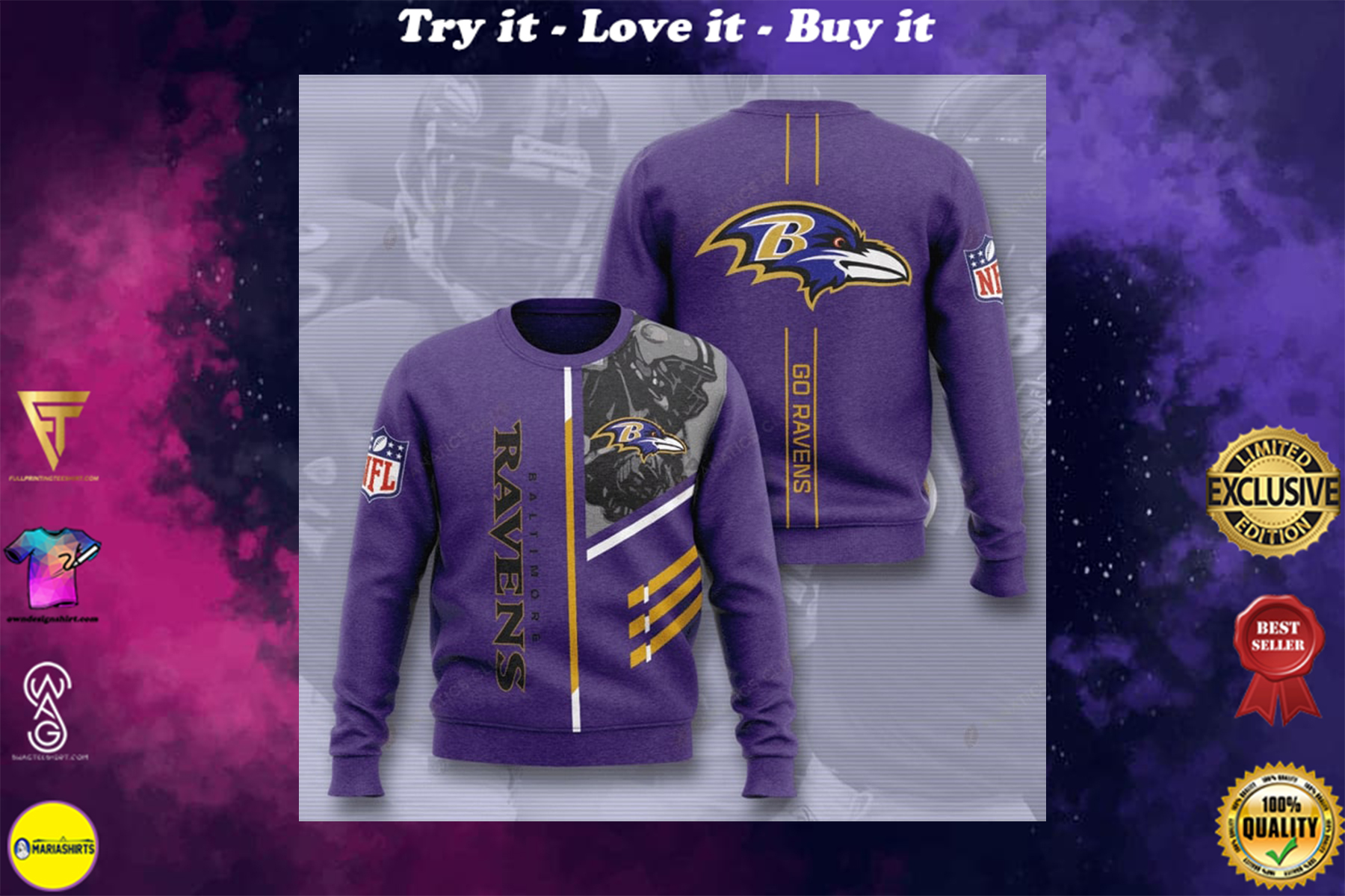 [special edition] baltimore ravens go ravens full printing ugly sweater - maria