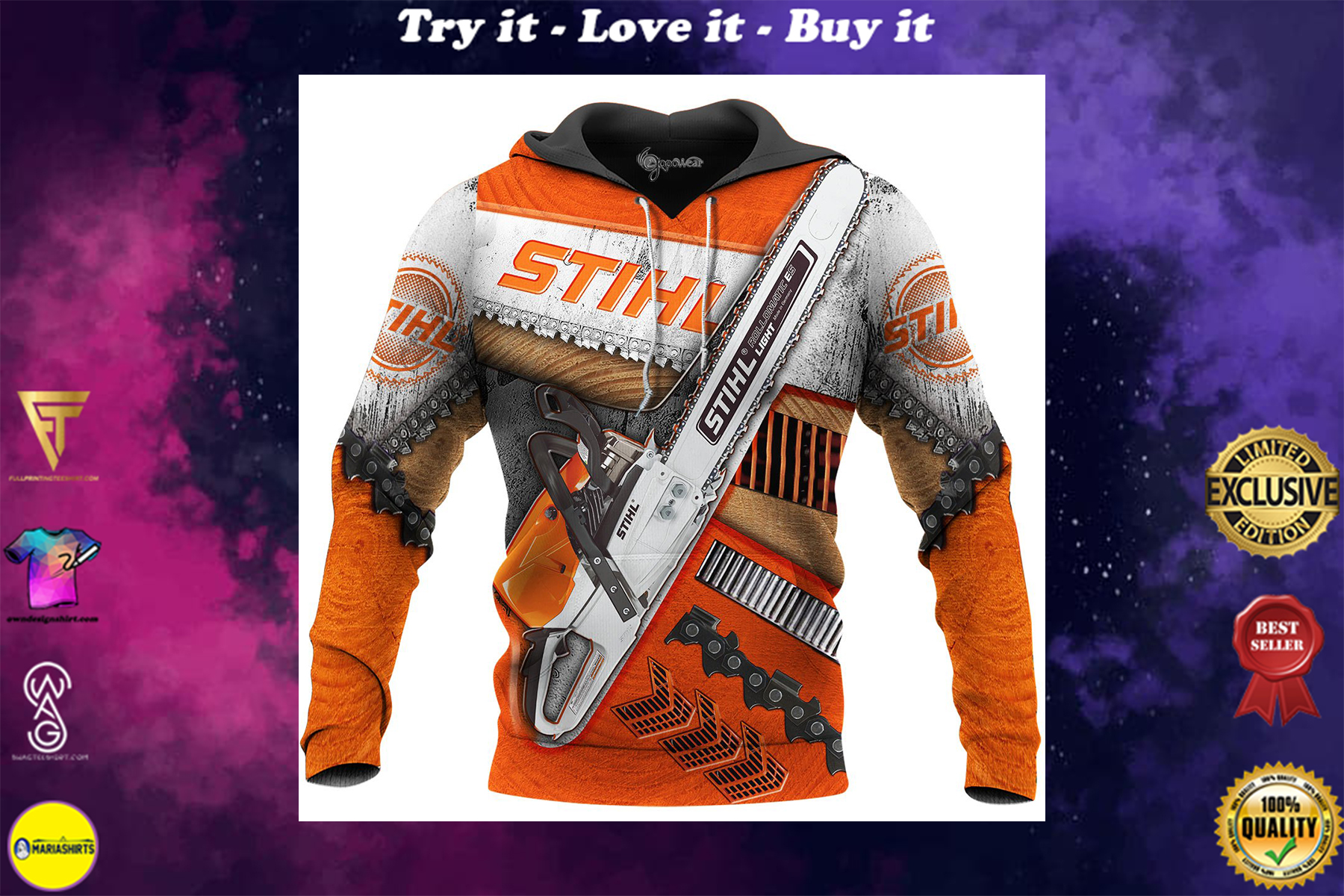 [special edition] beautiful stihl chainsaw full over printed shirt - maria