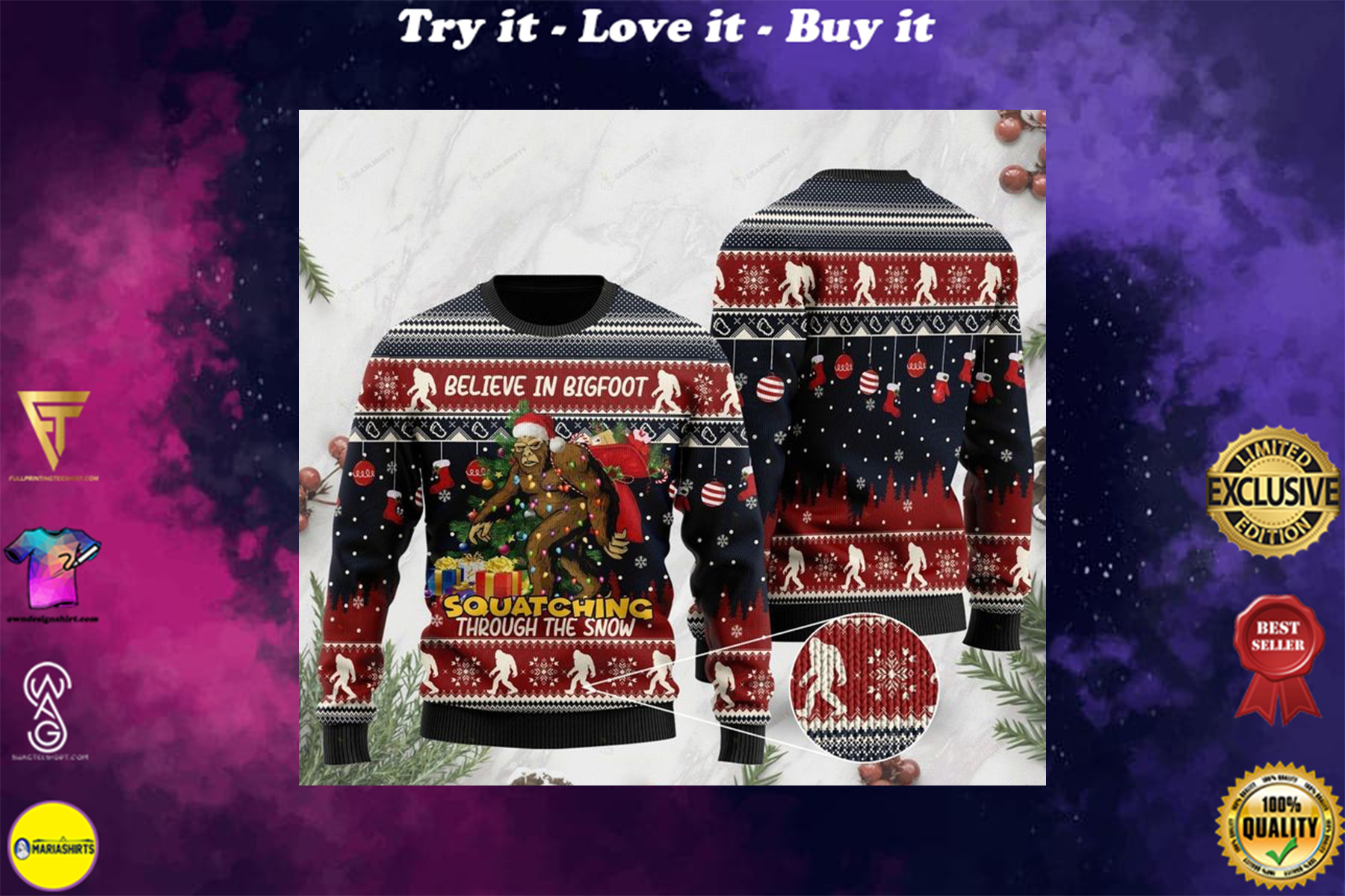 [special edition] believe in bigfoot squat ching through the snow ugly christmas sweater - maria