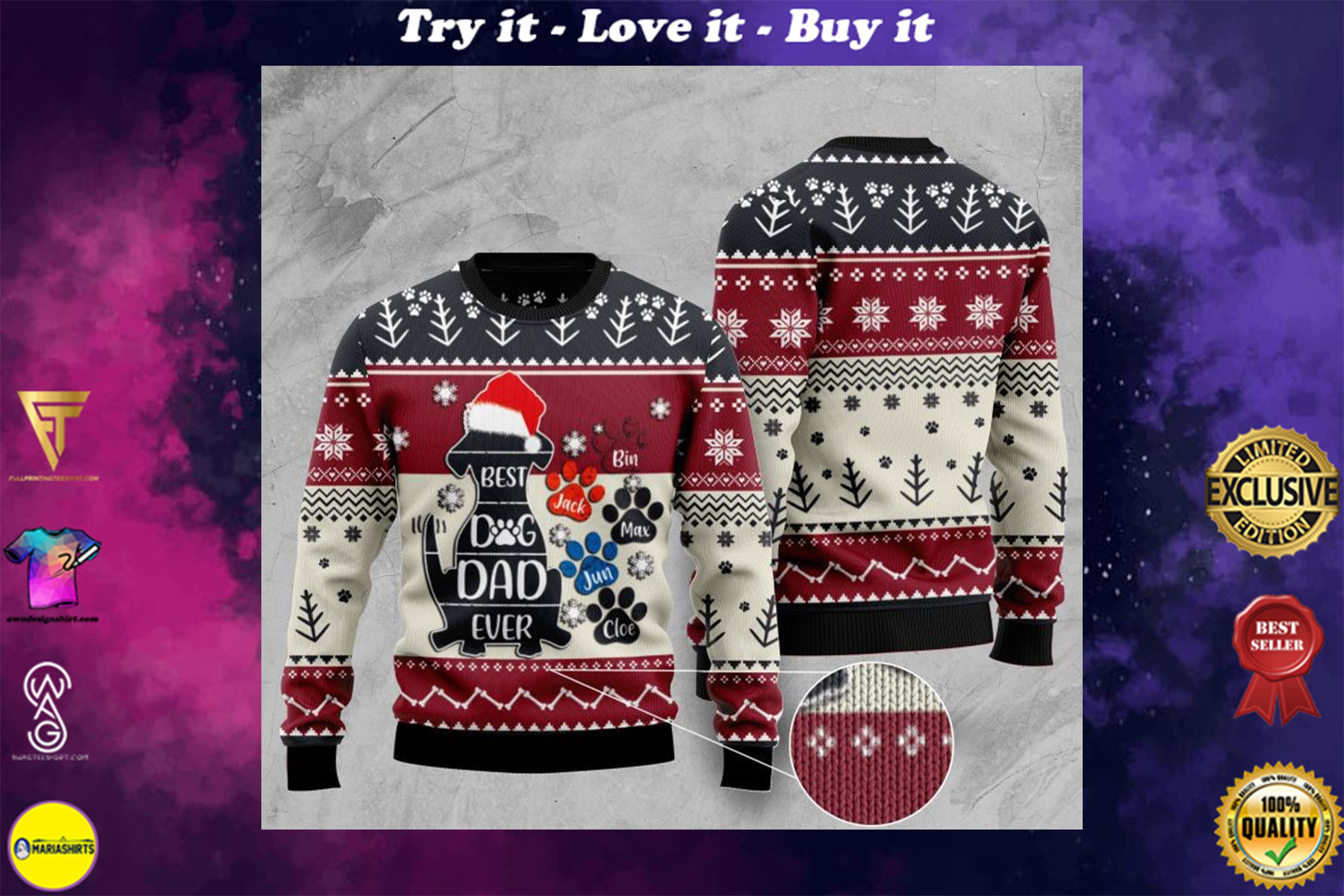 [special edition] best dog dad ever full printing christmas sweater - maria