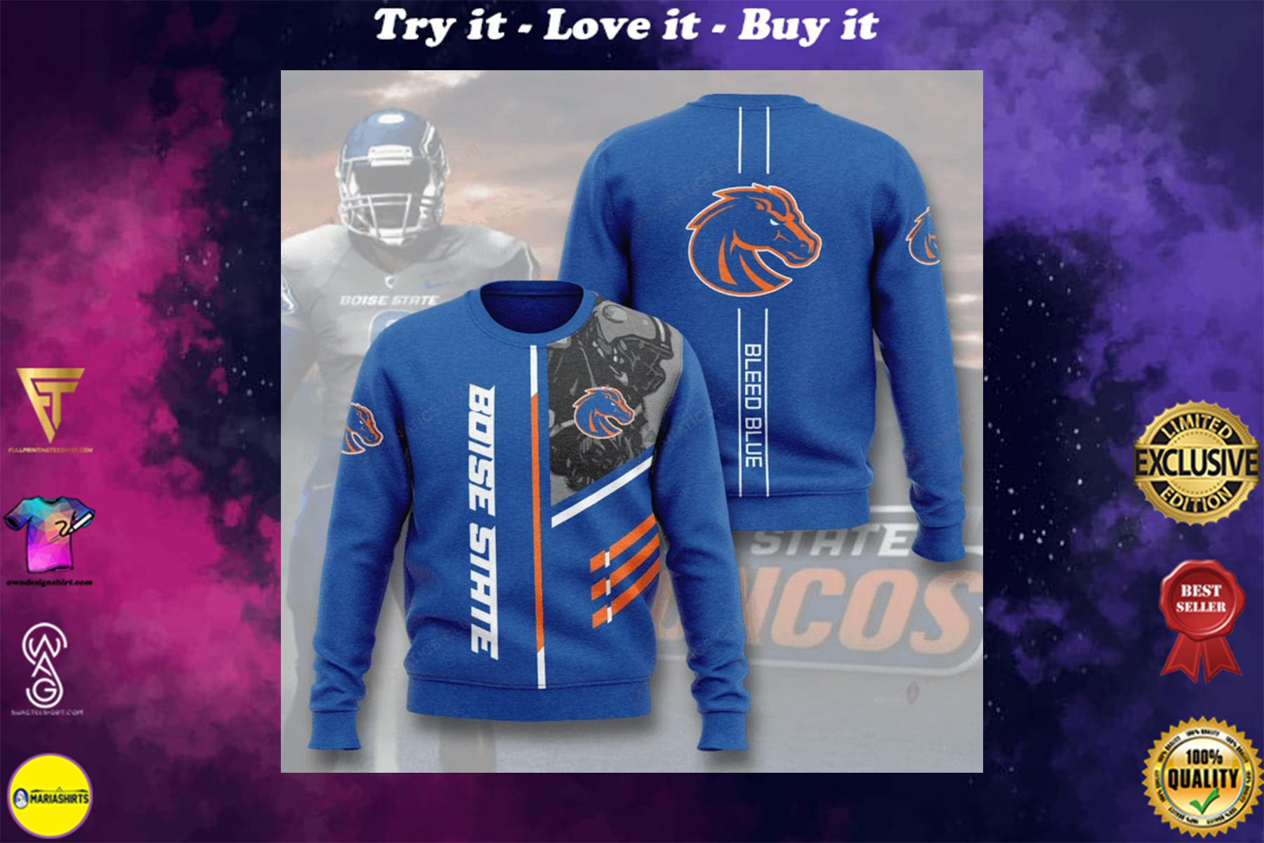 [special edition] boise state broncos bleed blue full printing ugly sweater - maria