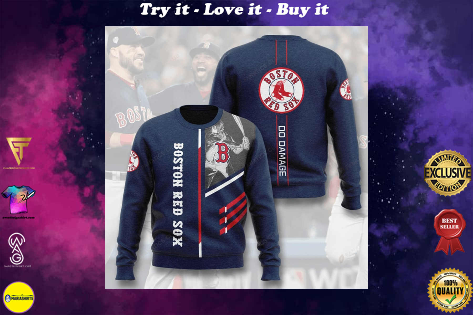 [special edition] boston red sox do damage full printing ugly sweater - maria