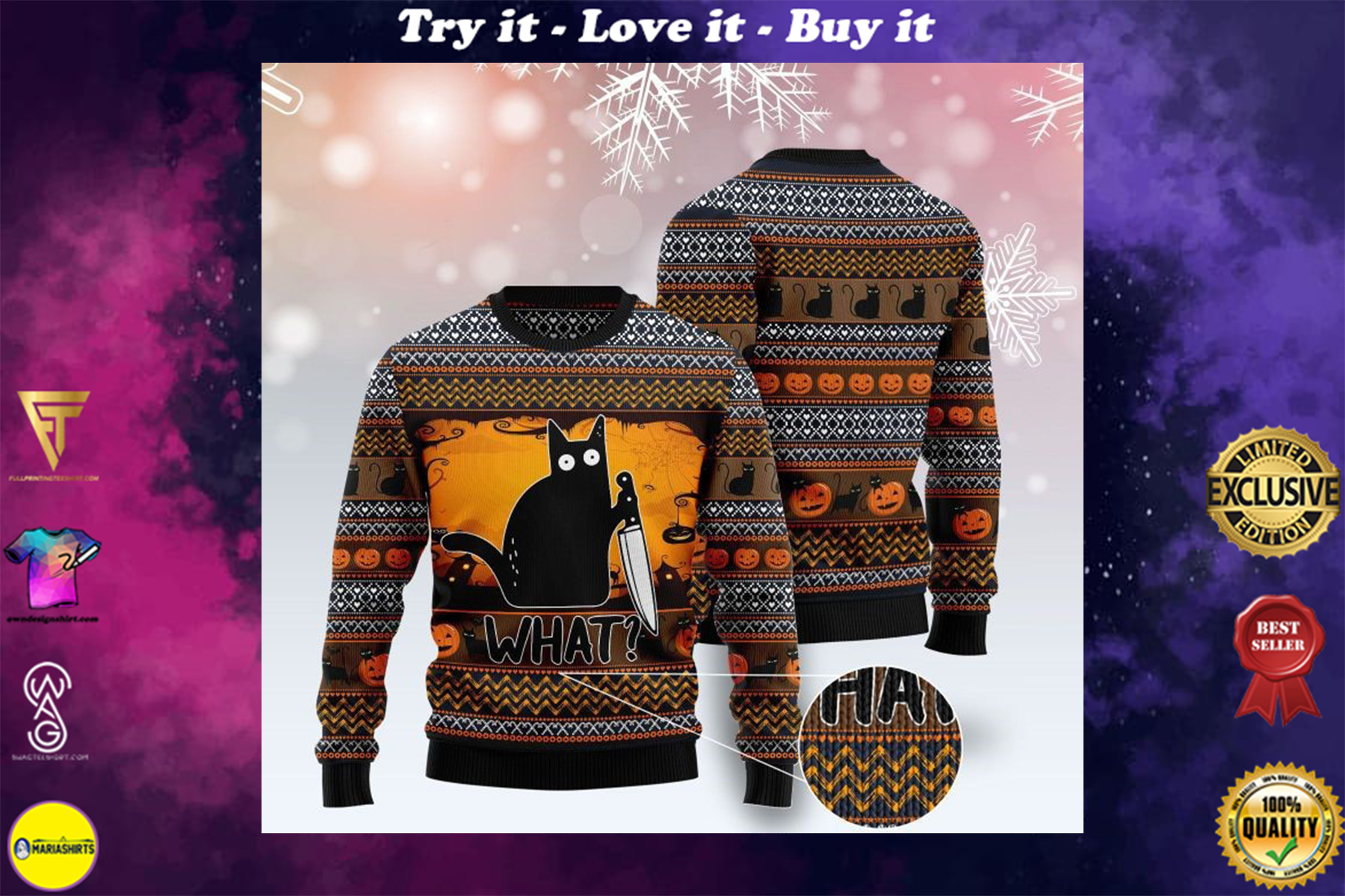 [special edition] cat what murderous black cat with knife full printing ugly sweater - maria