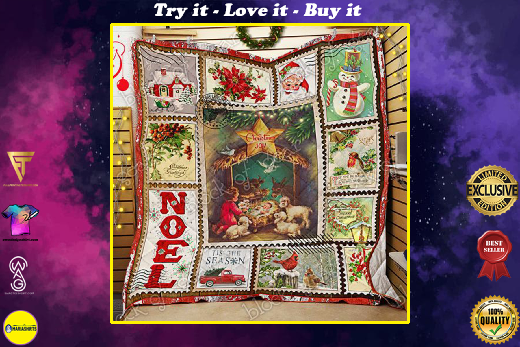 [special edition] christmas joy to the world and merry christmas all over print quilt - maria