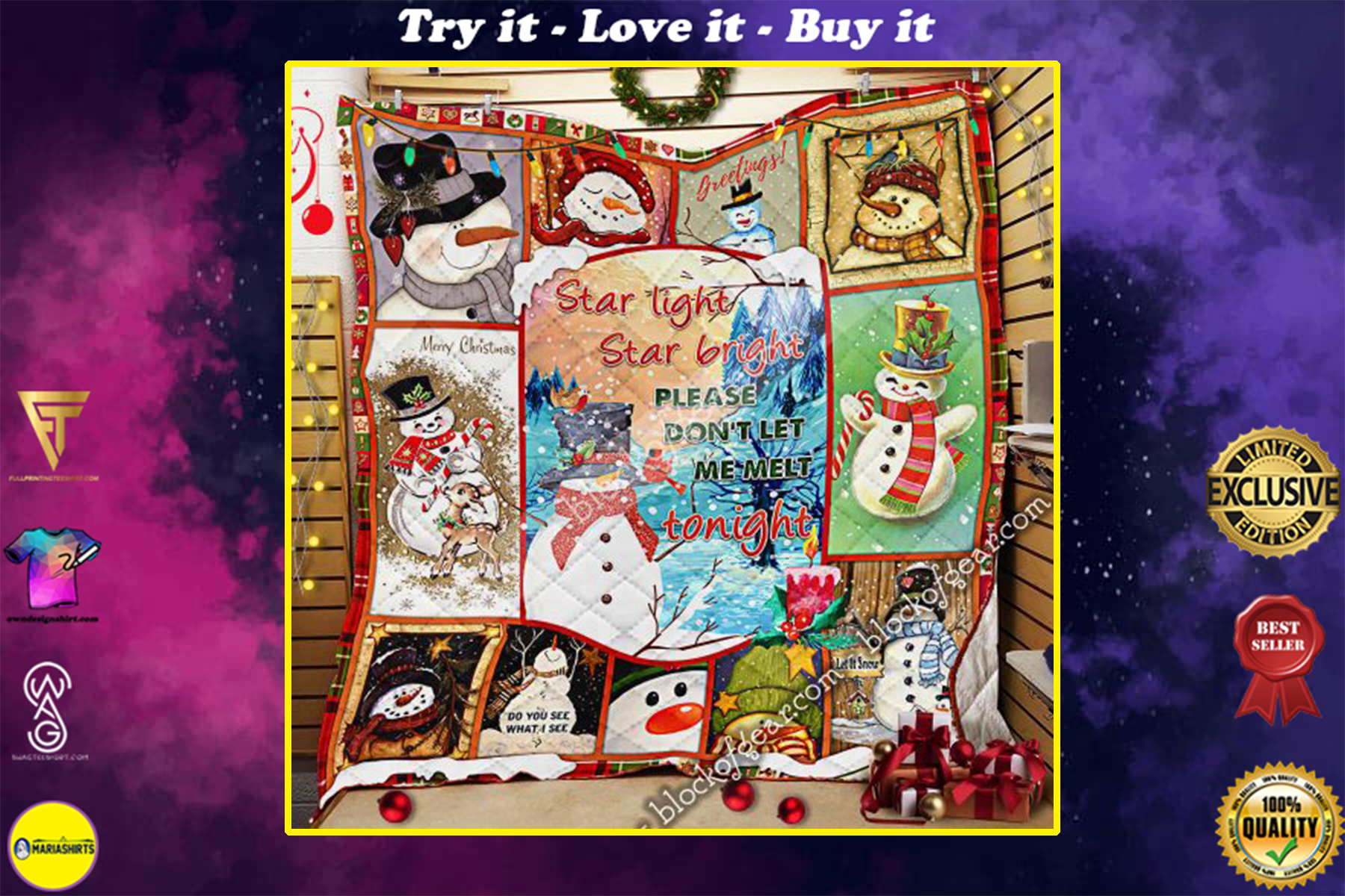 [special edition] christmas snowflakes star light star bright please dont let me melt tonight quilt - maria