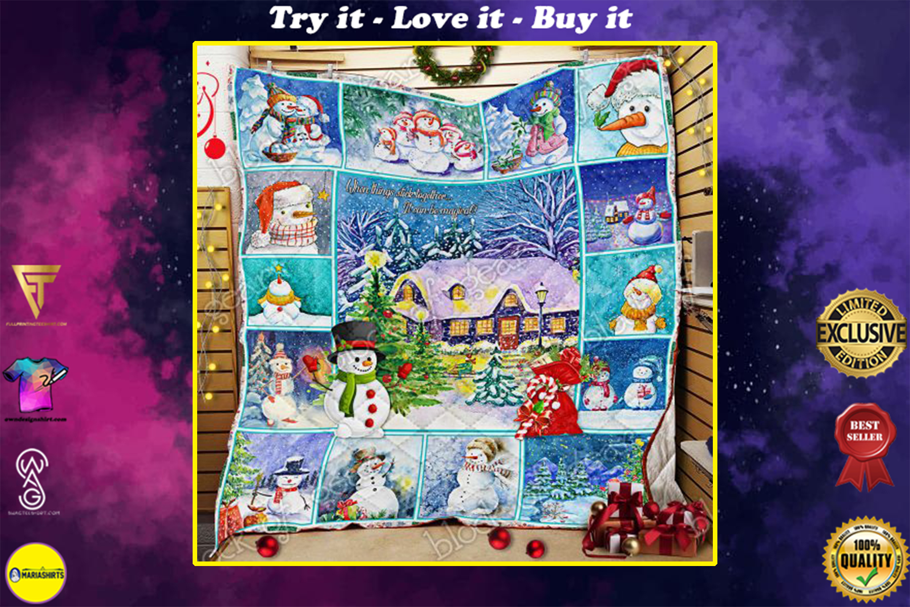 [special edition] christmas snowman when things stick together all over print quilt - maria