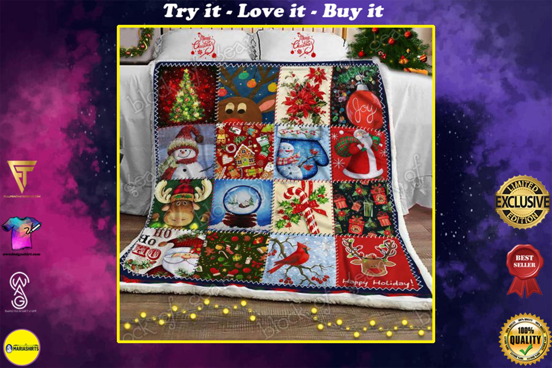 [special edition] christmas time snowman cardinal bird and santa blanket - maria