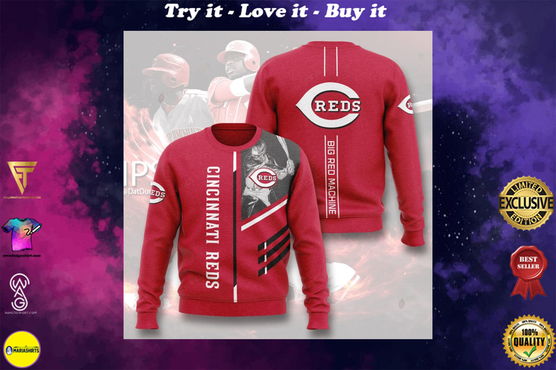 [special edition] cincinnati reds big red machine full printing ugly sweater - maria