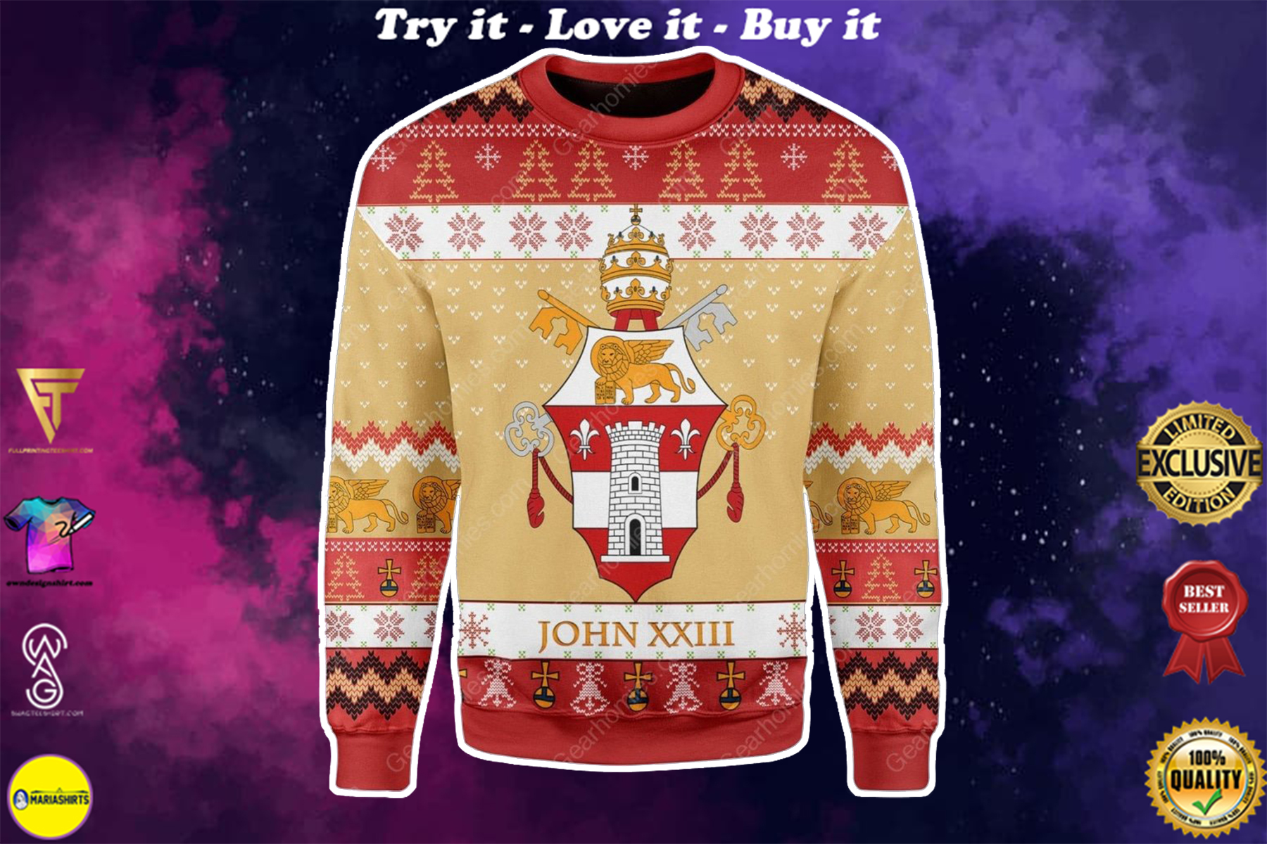[special edition] coat of arms of pope john xxiii all over printed ugly christmas sweater - maria