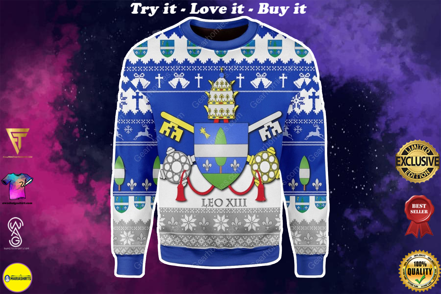 [special edition] coat of arms of pope leo xiii all over printed ugly christmas sweater - maria