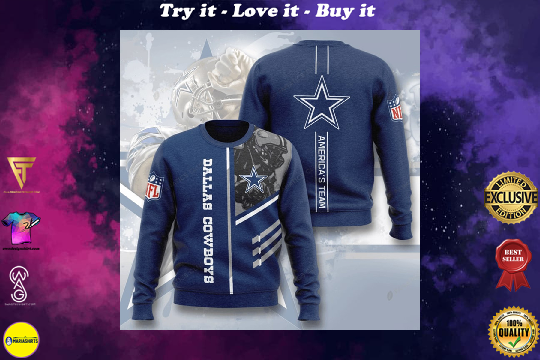 [special edition] dallas cowboys america's team full printing ugly sweater - maria