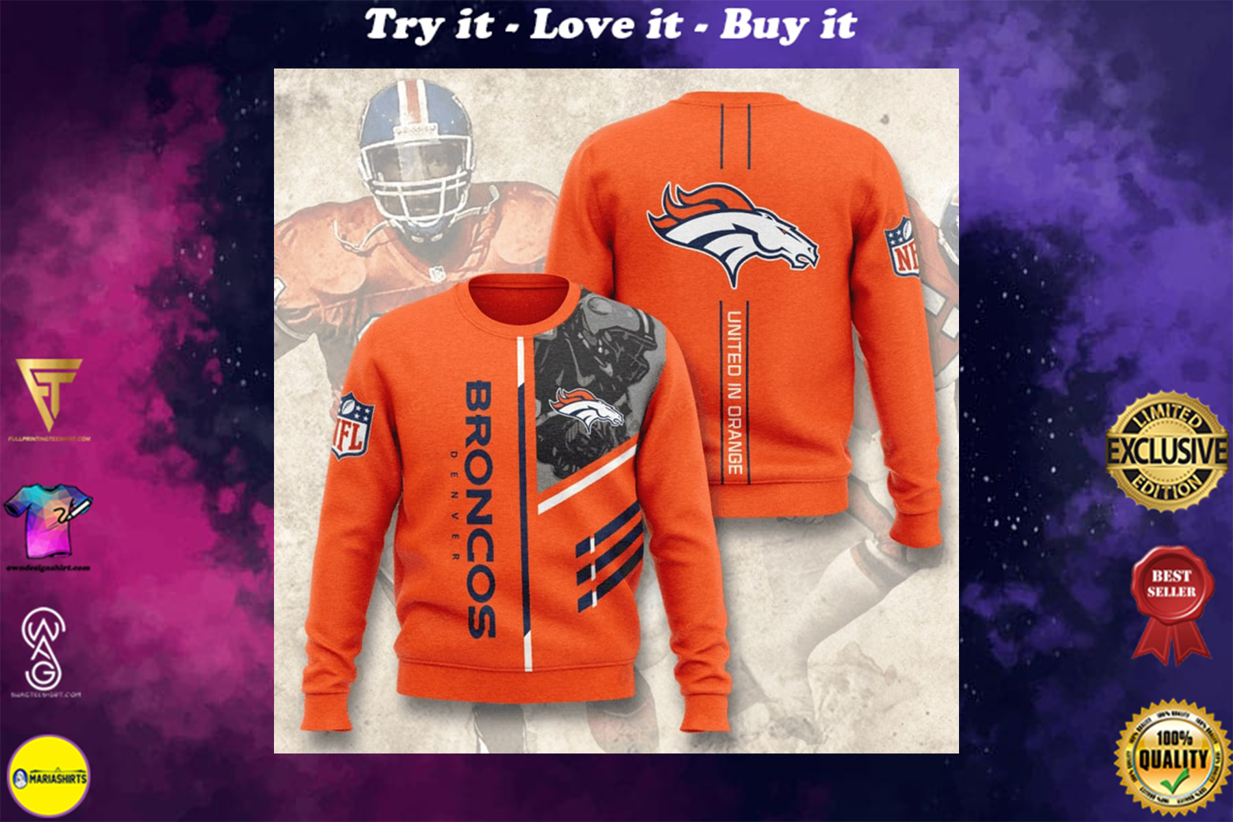 [special edition] denver broncos united in orange full printing ugly sweater - maria