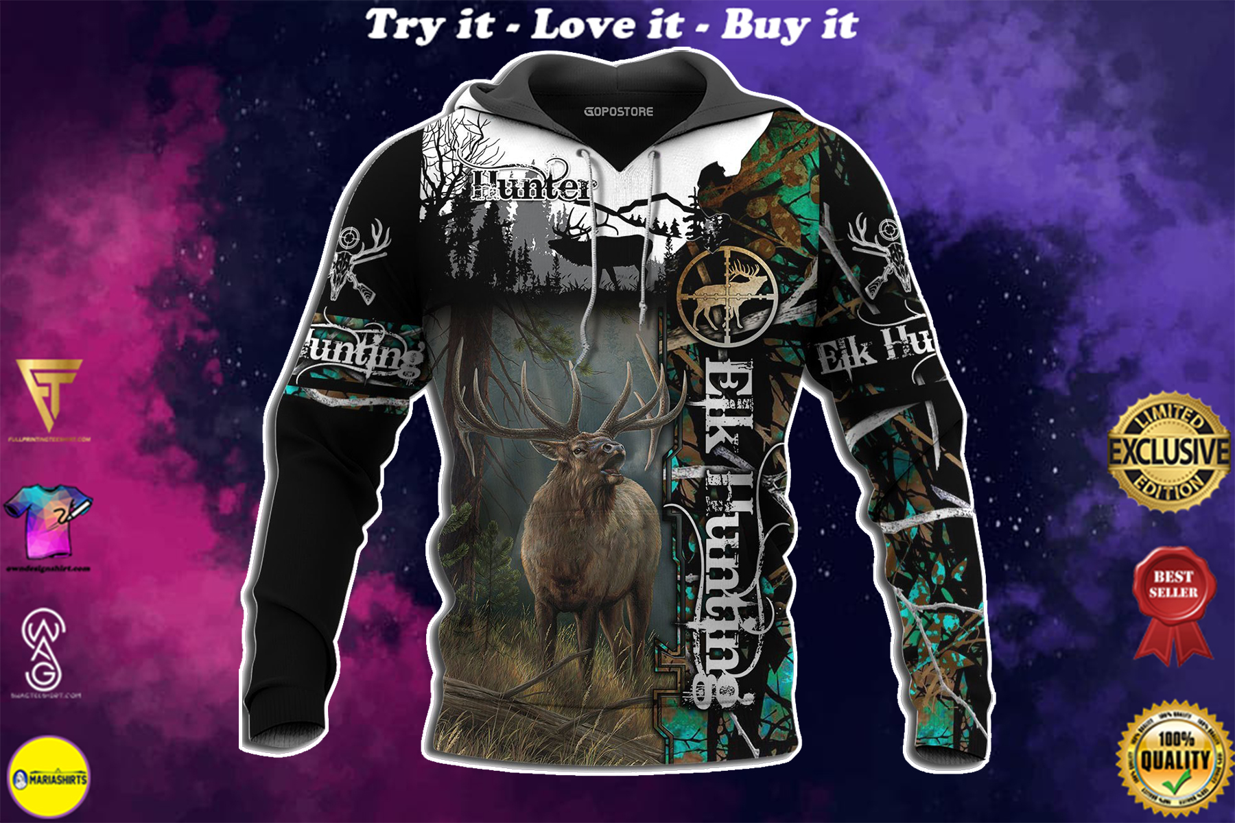 [special edition] elk hunting love hunter full over printed shirt - maria