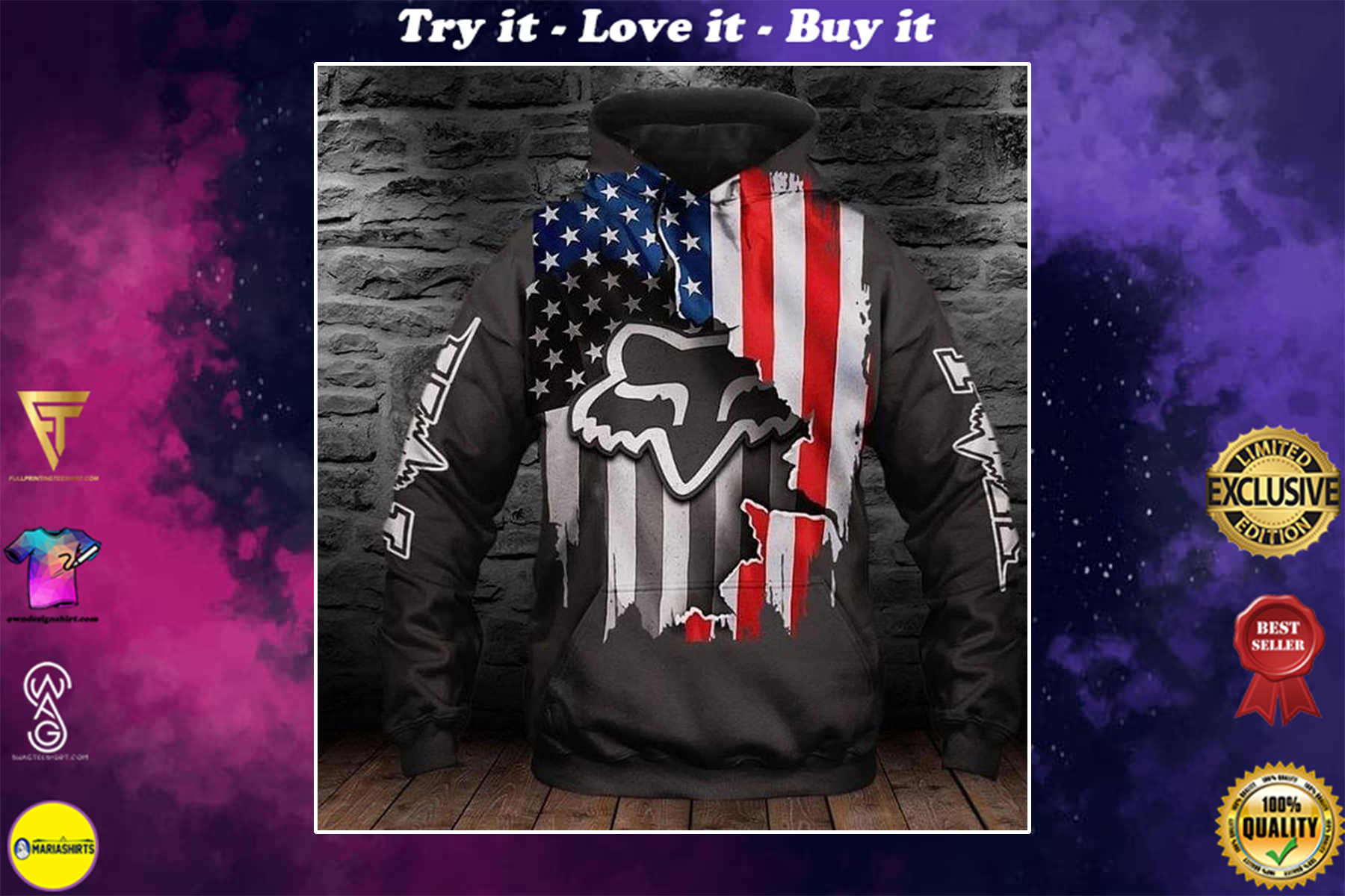 [special edition] fox racing and american flag layer full over printed shirt - maria