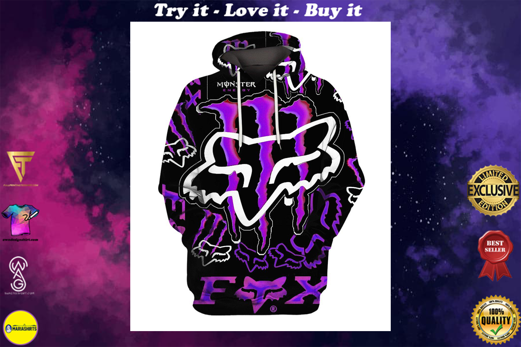 [special edition] fox racing and monster energy purple full over printed shirt - maria