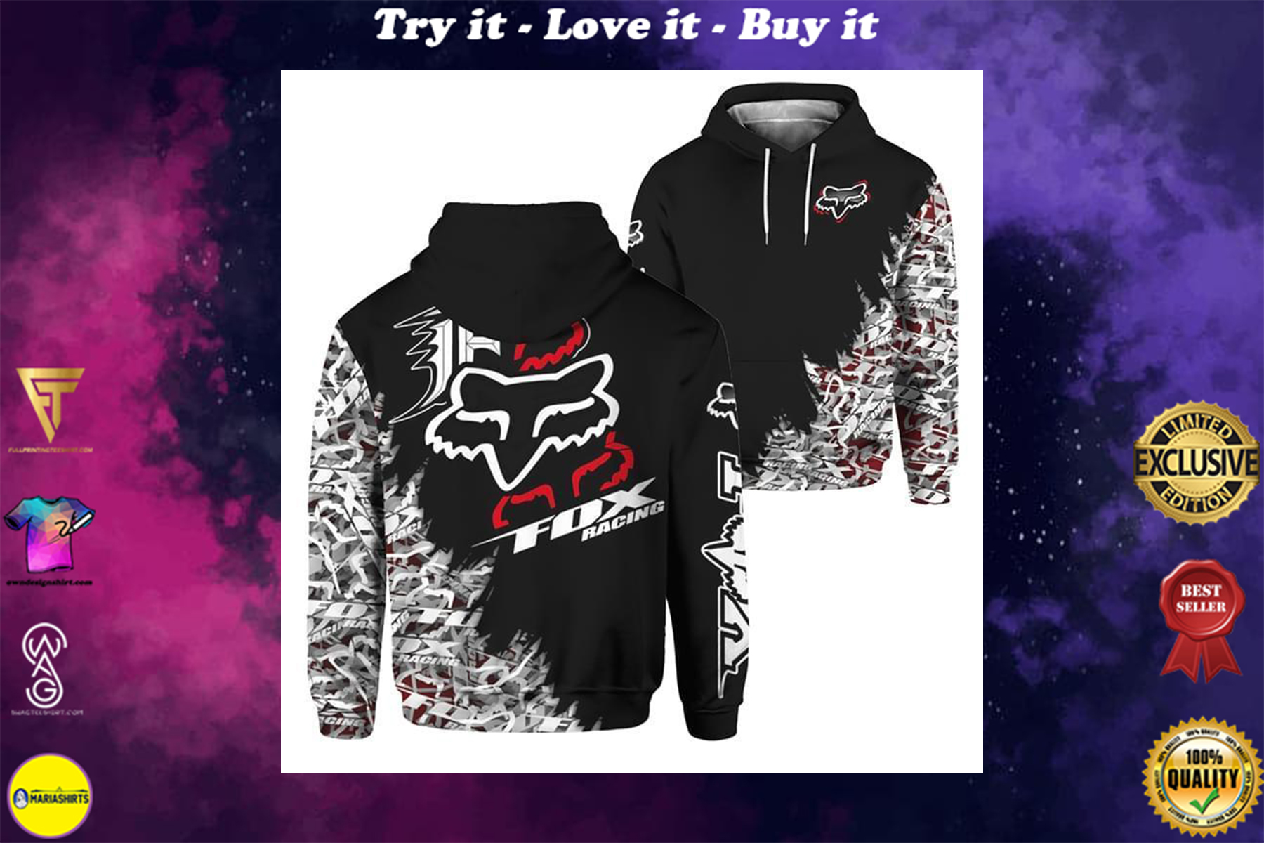 [special edition] fox racing dirt bike motocross full over printed shirt - maria